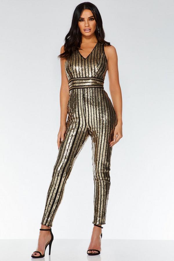 Black and Gold Sequin Stripe Jumpsuit