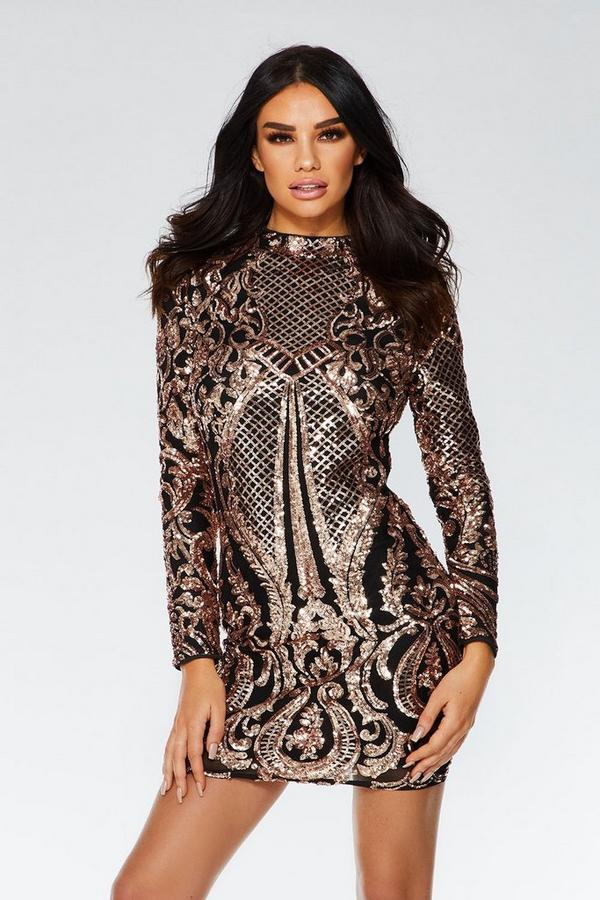 Black and Rose Gold Sequin Bodycon Dress