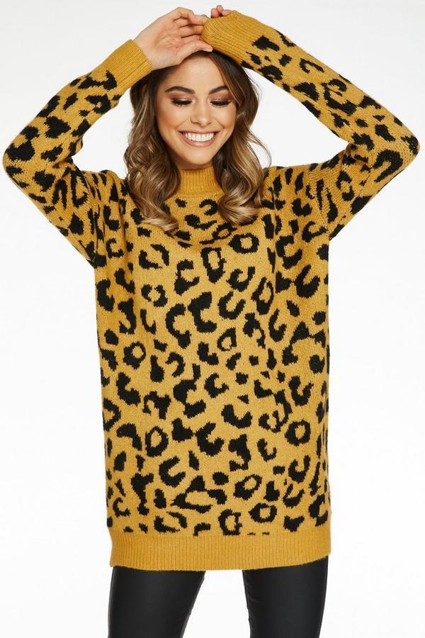 Mustard And Black Leopard Print Jumper