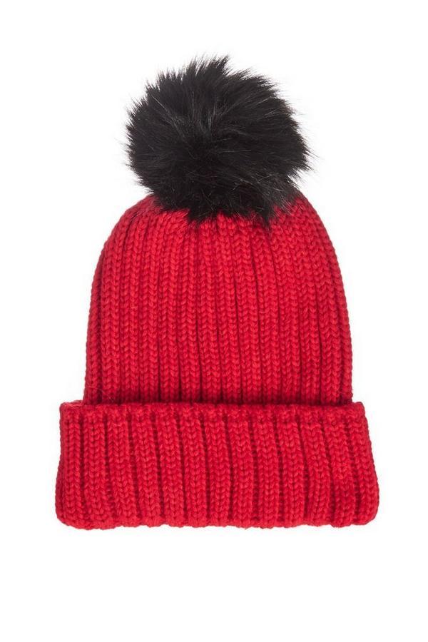Red Knit Pom Hat