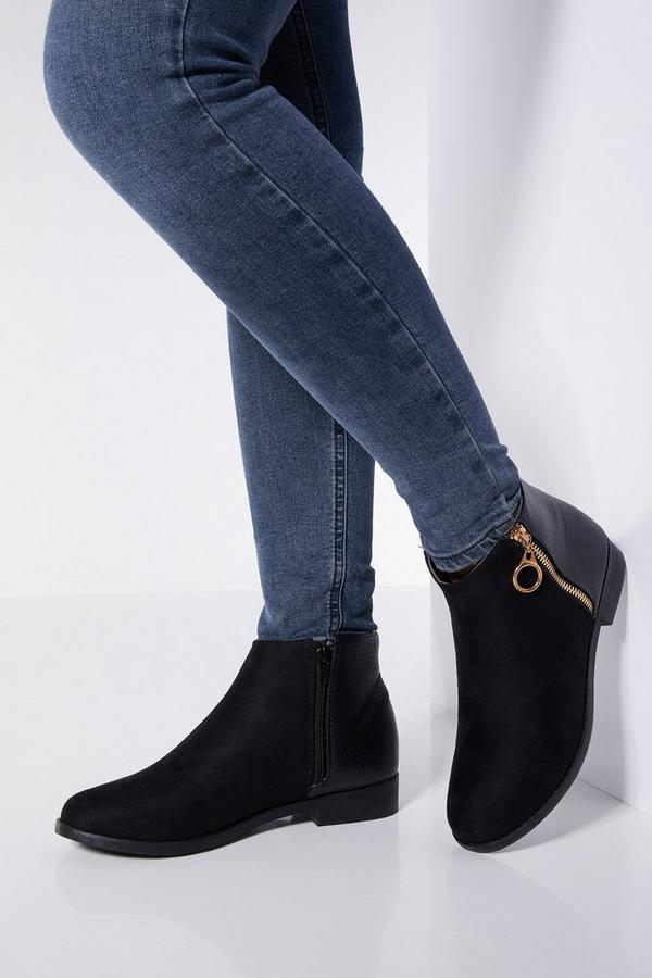 Wide Fit Black Zip Ankle Boots