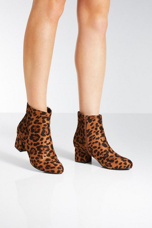 Lepoard Print Block Heel Ankle Boots