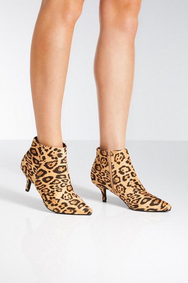 Leopard Print Point Toe Kitten Heel Ankle Boots