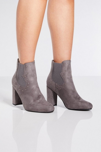 Grey Faux Suede Western Ankle Boots