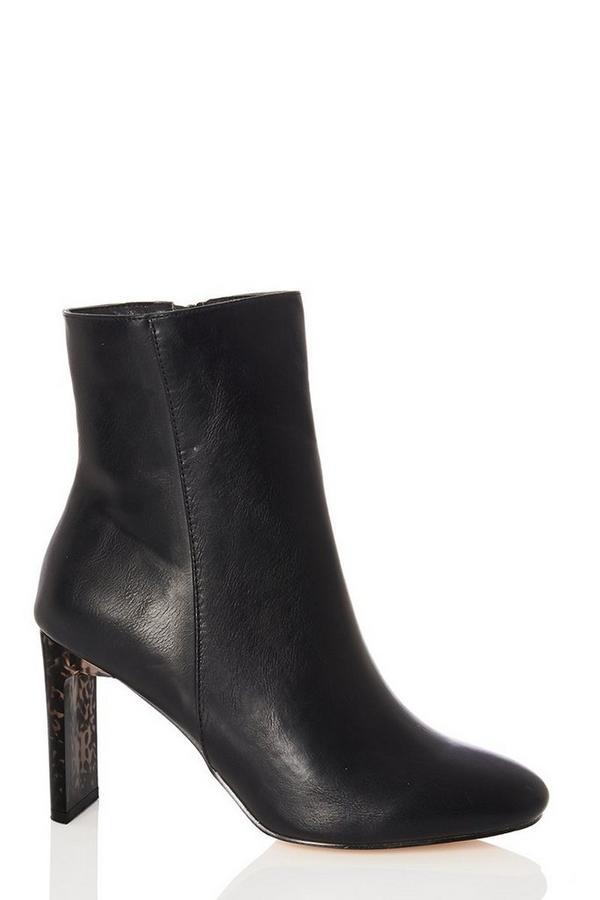 Black Tortoiseshell Heel Ankle Boots