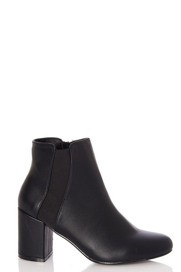 Black Elastic Panel Heel Ankle Boots