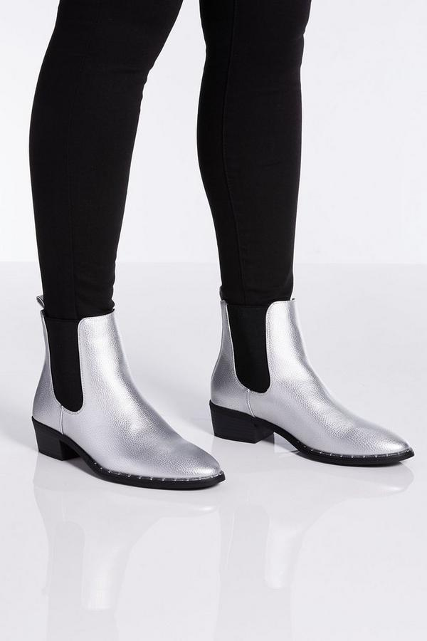 Silver Chelsea Ankle Boots