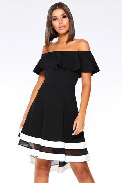 Black And Cream Bardot Dip Hem Dress