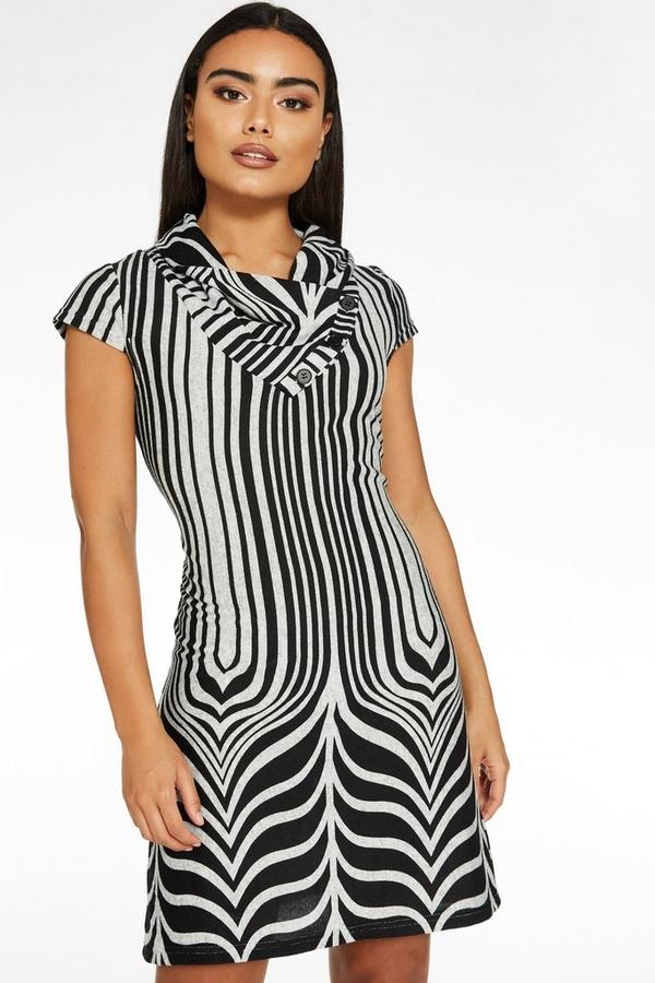 Grey And Black Light Knit Cowl Neck Dress