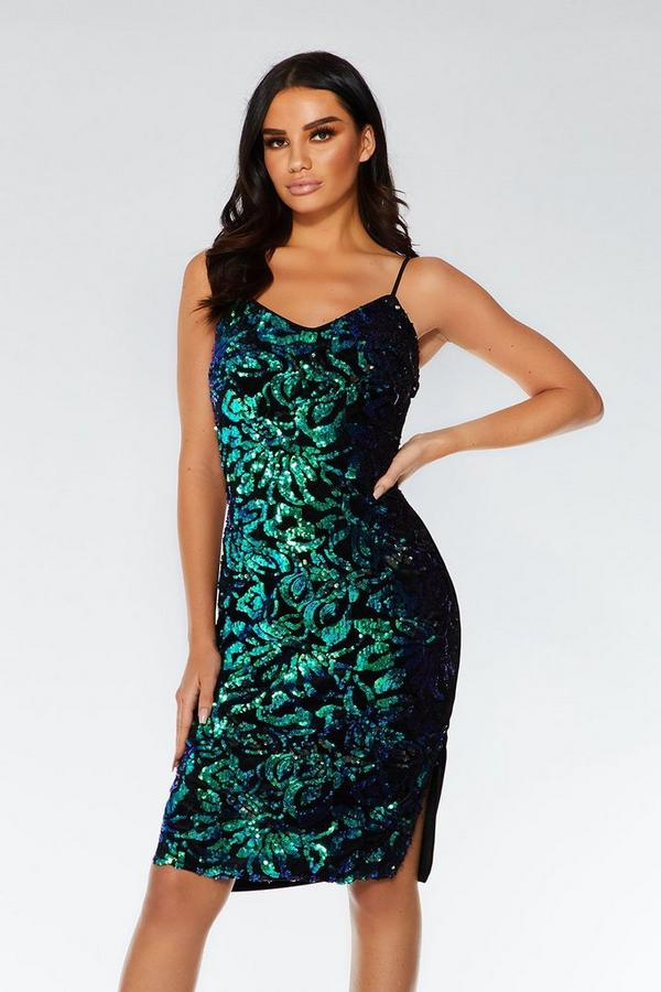 Black and Green Sequin Midi Dress