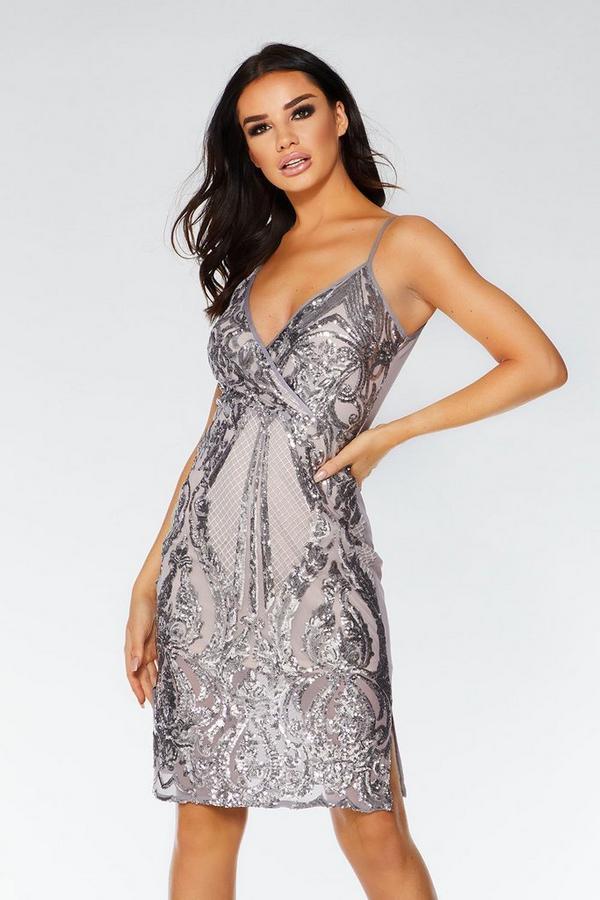 Mauve Sequin Wrap Midi Dress