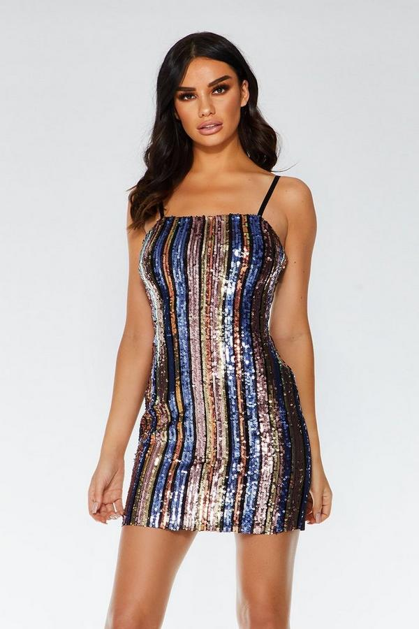 Gold Pink and Purple Sequin Stripe Bodycon Dress