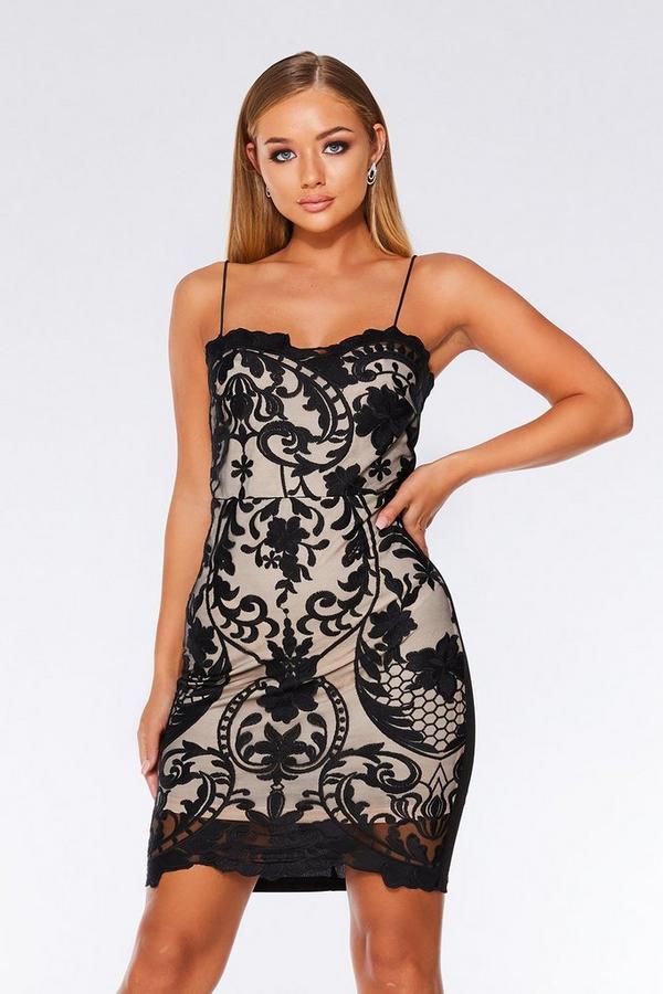 Black And Stone Mesh Bodycon Dress