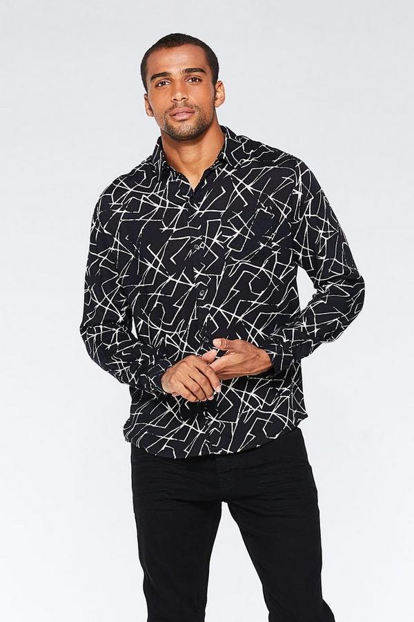 Black Printed Viscose Long Sleeve Shirt
