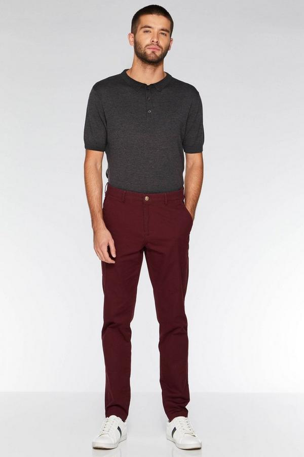 Wine Slim Fit Stretch Chinos
