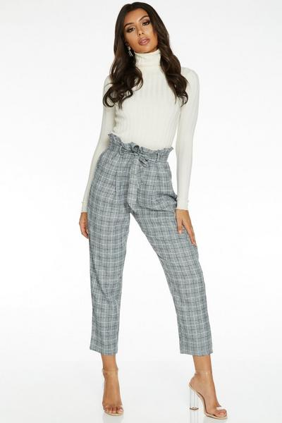 TOWIE Grey Check Paper Bag Trousers
