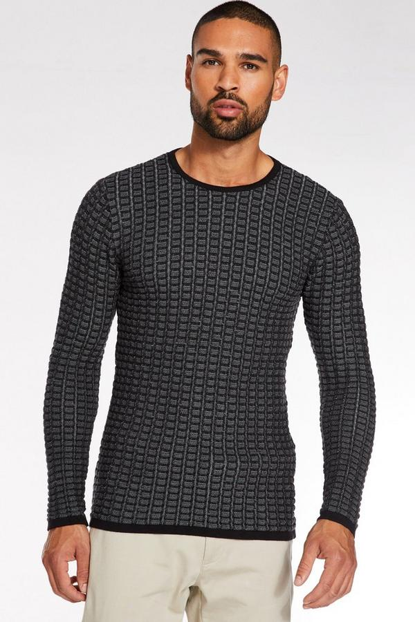 Black and Grey Textured Crew Neck Jumper