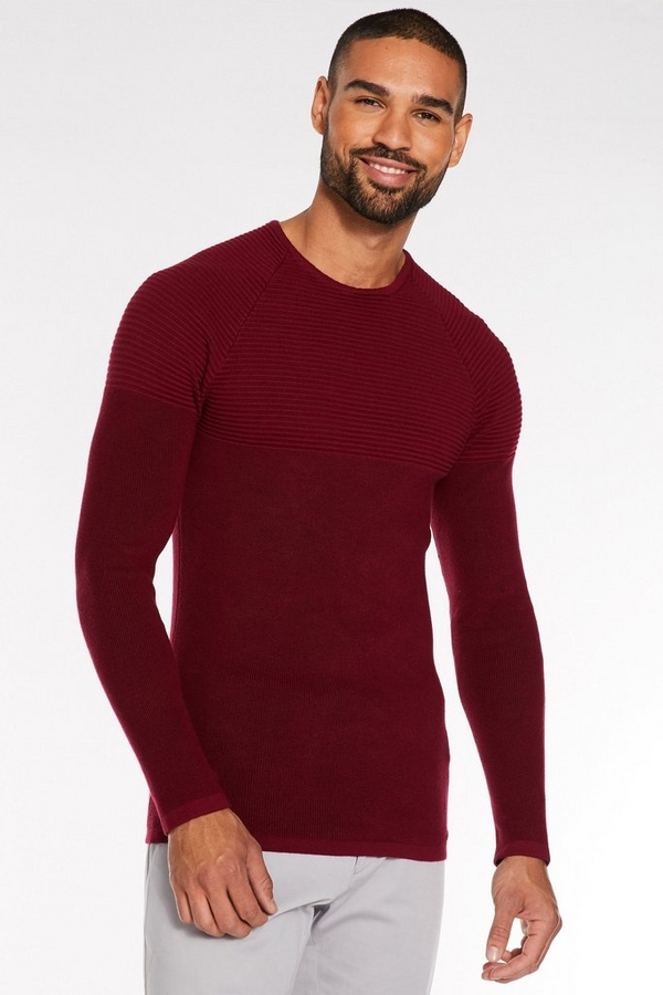 Burgundy Ribbed Crew Neck Jumper