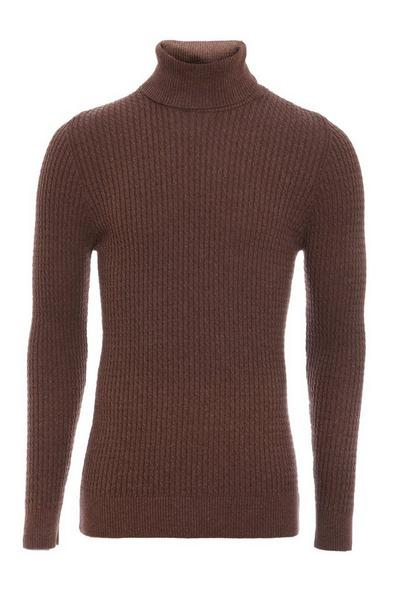 Mink Cable Knit Roll Neck Jumper