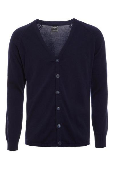 Navy Ribbed Elbow and Side Panel Cardigan