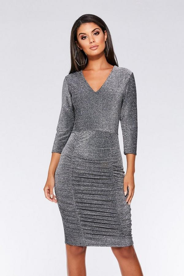 Silver 3/4 Sleeved Ruched Midi Dress