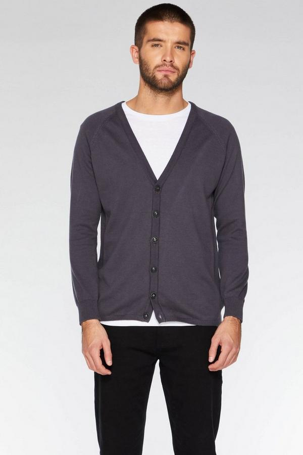 Charcoal Ribbed Elbow and Side Panel Cardigan
