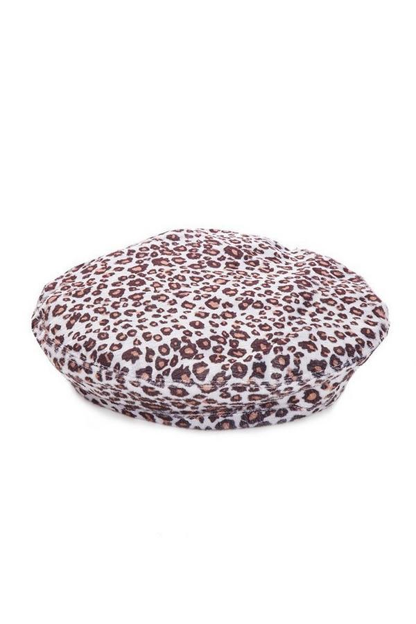 Grey Leopard Print Beret