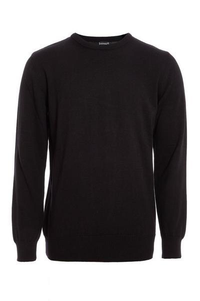 Black Crew Neck Knitted Jumper