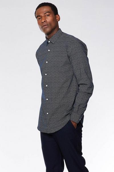Black & White Dotted Geo Pattern Long Sleeve Shirt