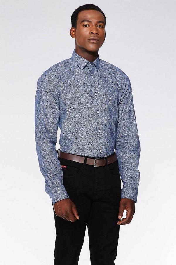 Blue/White Floral Print Long Sleeve Shirt