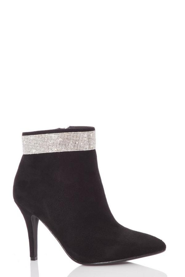 Black Diamante Heeled Ankle Boots