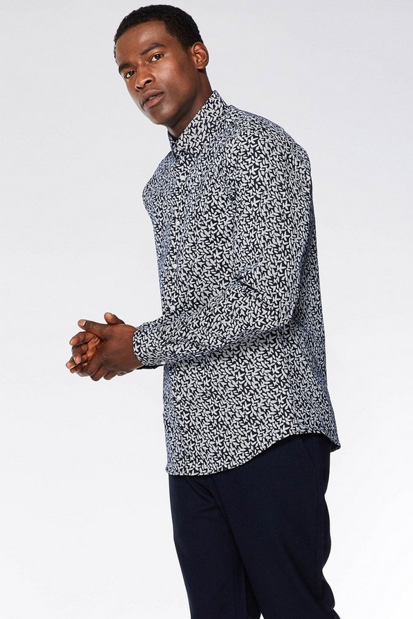 White/Navy Geo Print Detail Long Sleeve Shirt