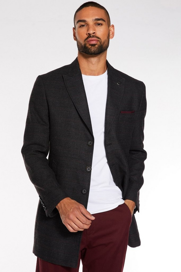 Black/Grey/Red Check Long Coat