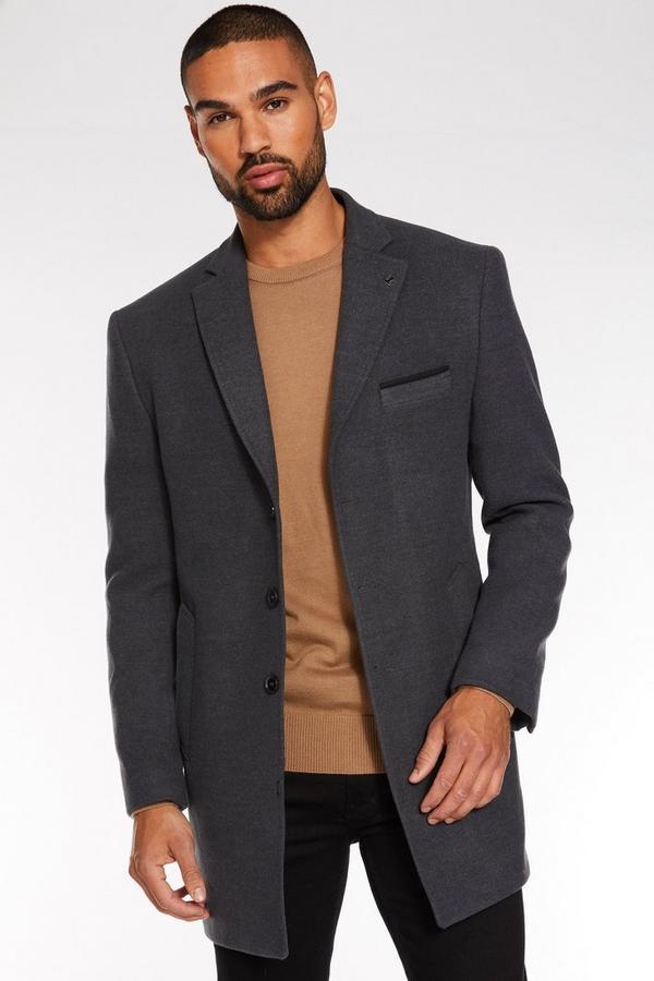Charcoal Plain Long Coat