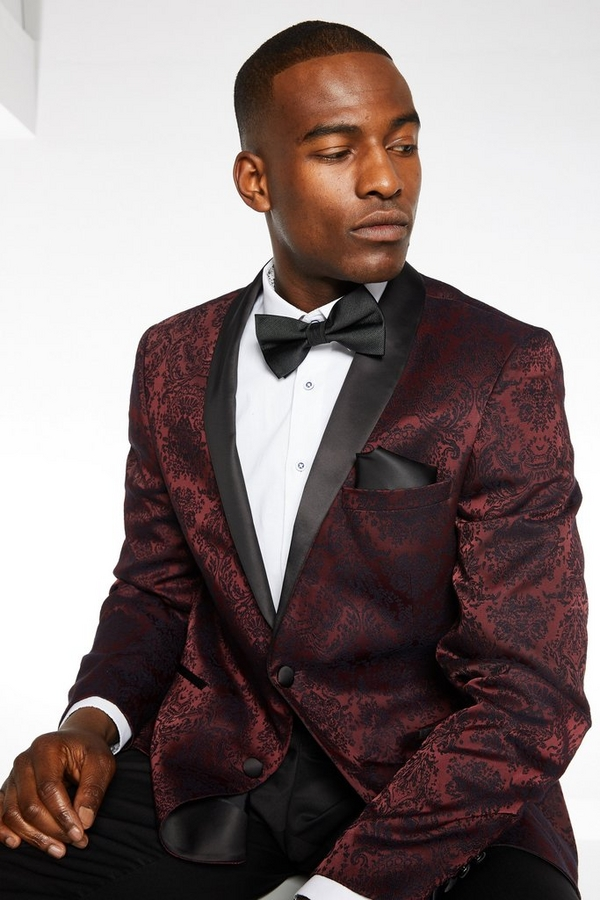 Burgundy Blazer with Embroidery Detail