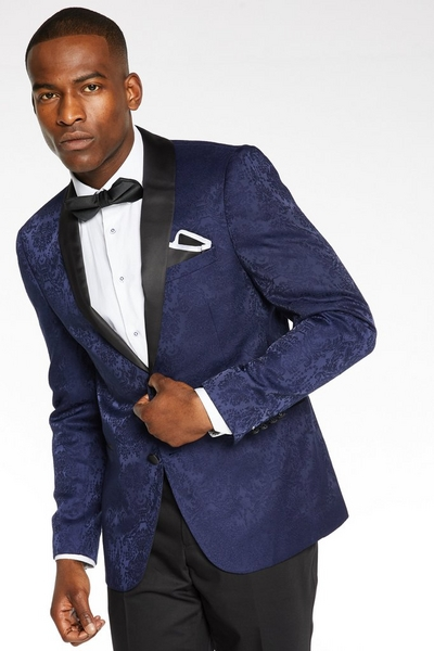 Navy Blazer with Embroidery Detail
