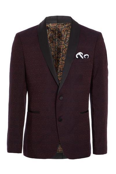 Burgundy All Over Embroidered Blazer