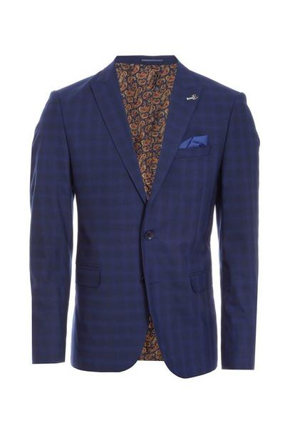 Mid Blue Check Blazer