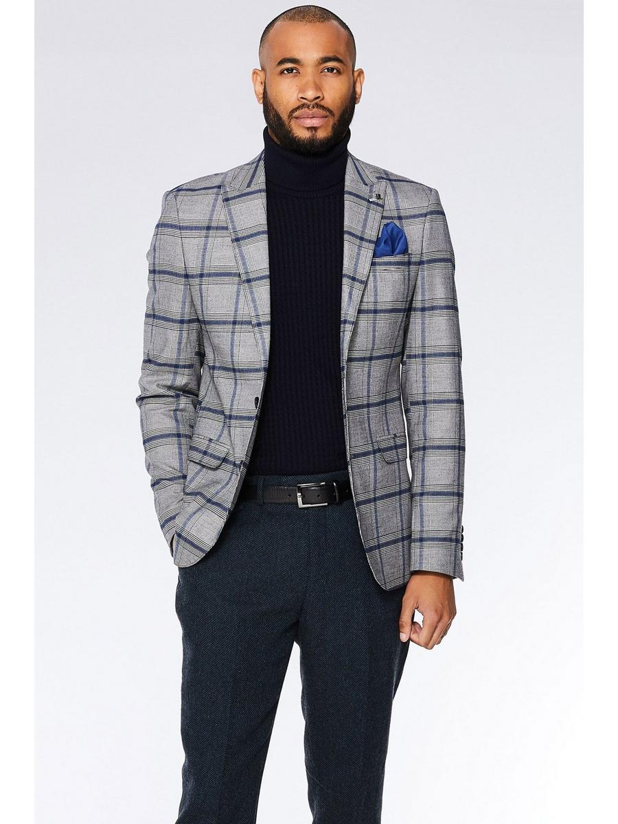 GREY/BLUE CHECK BLAZER