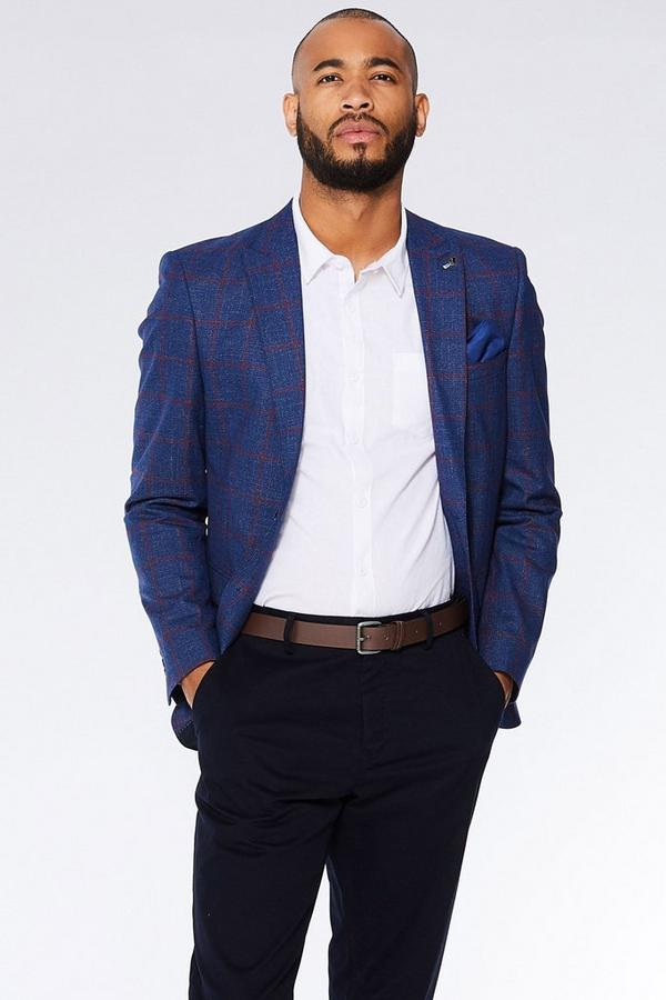 Navy/Red Check Blazer