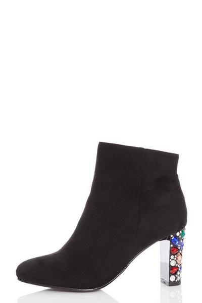 Black Faux Suede Jewel Heel Ankle Boots