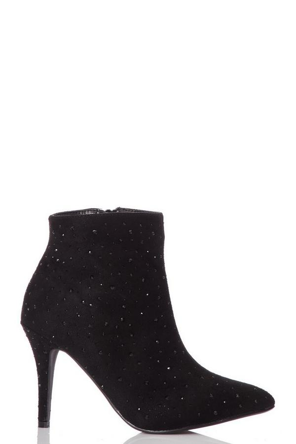 Black Faux Suede Stiletto Ankle Boots