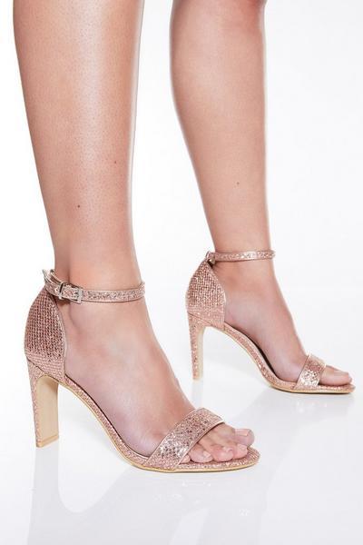 TOWIE Rose Gold Shimmer Heeled Sandals
