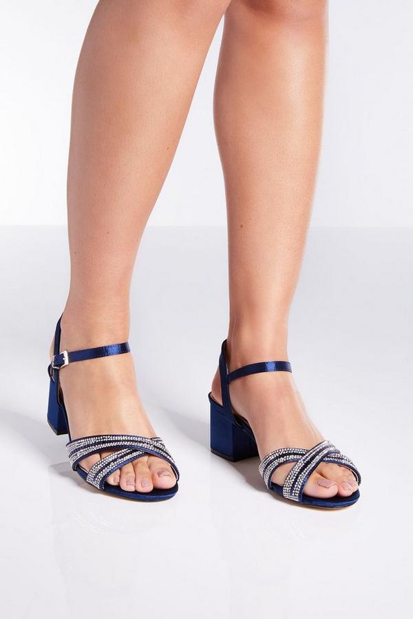 Navy Satin Diamante  Low Heels