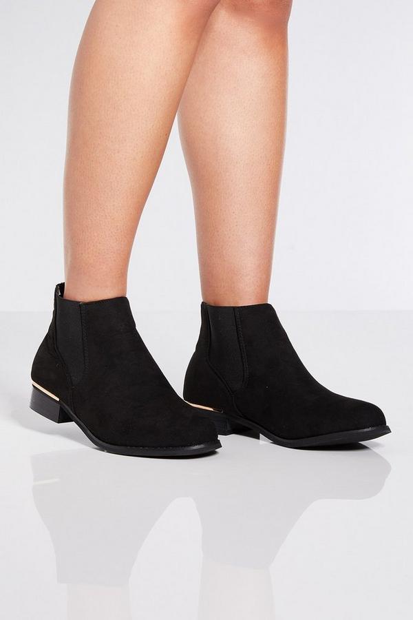 Black Metal Trim Chelsea Ankle Boots