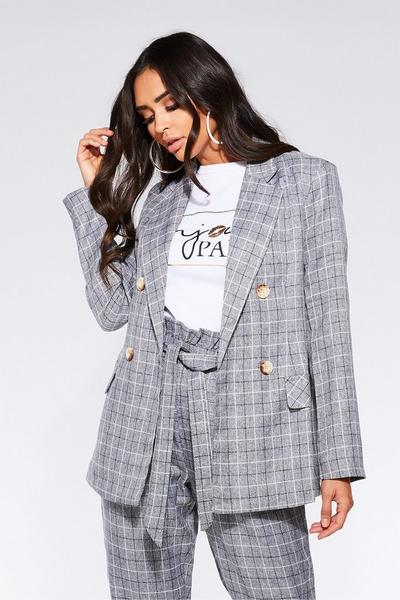 TOWIE Grey Check Button Blazer