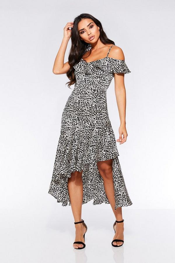 Black and White Leopard Cold Shoulder Frill Dress