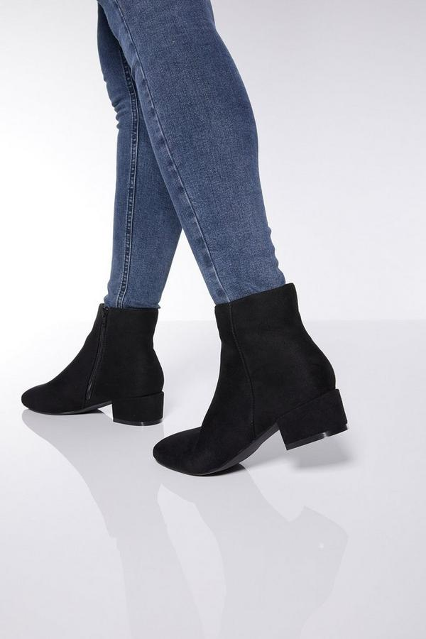 Wide Fit Block Heel Ankle Boots