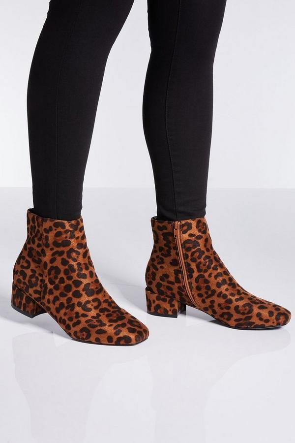 Wide Fit Leopard Print Block Heel Ankle Boots