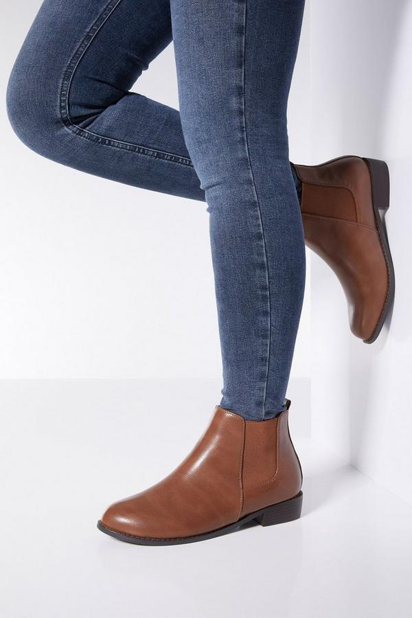 Wide Fit Tan Chelsea Ankle Boots